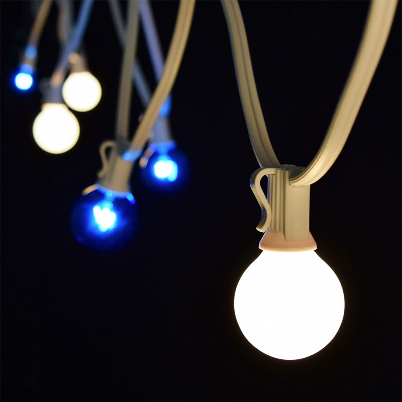 Globe String Lights White Cord : C7 Blue/White Globe String Lights - 25 White Light Strand