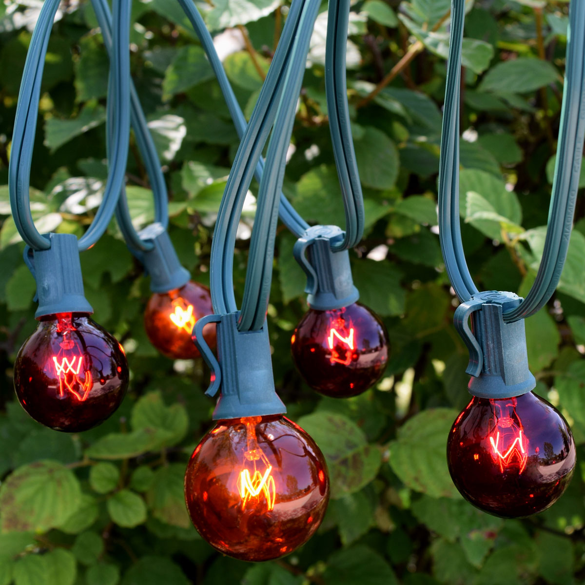 C7 red amber globe string light kit