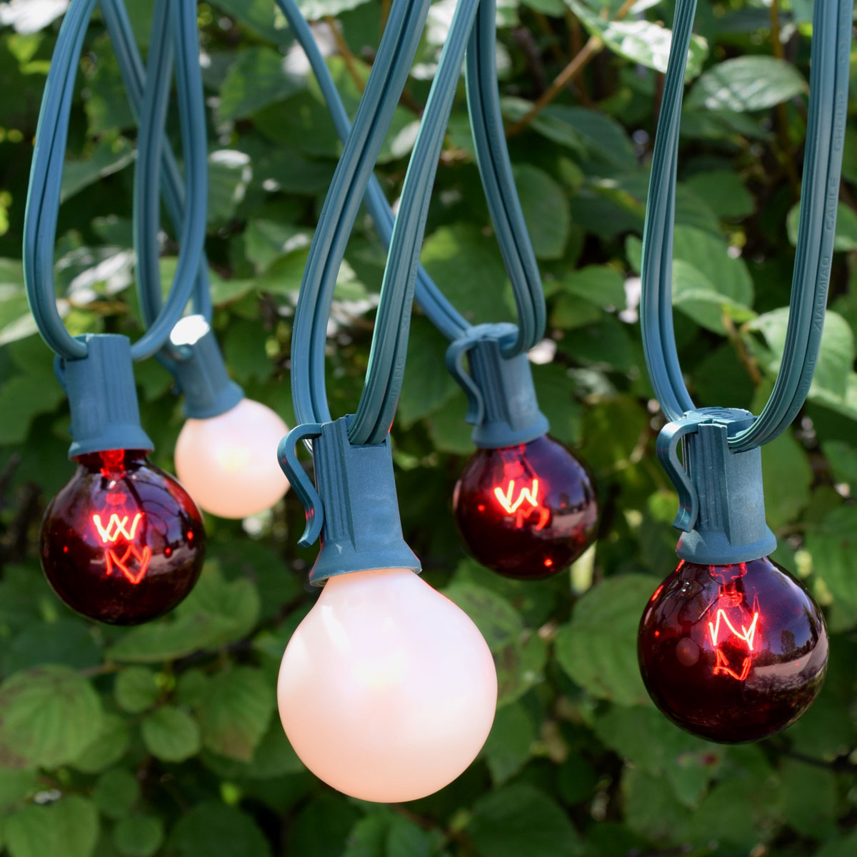 red white C7 christmas globe string lights