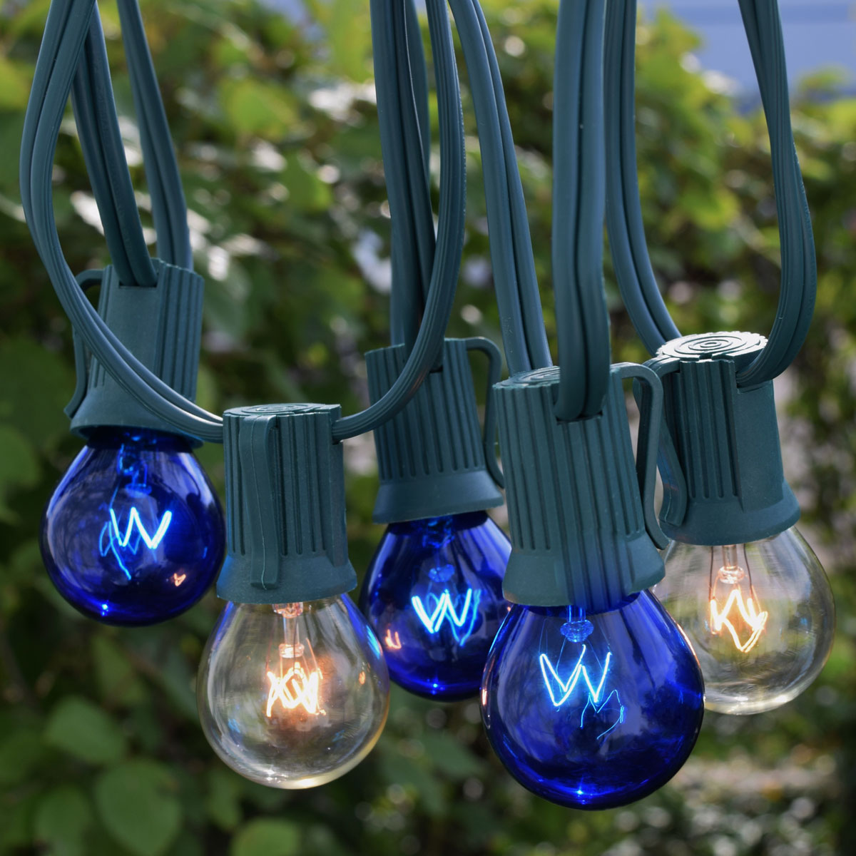 50' C9 Blue/Clear Globe Light Strand Kit - Green Wire