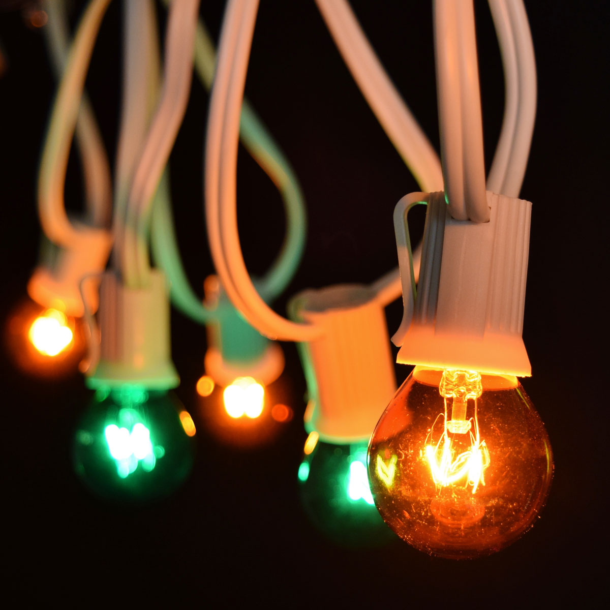 25' Green/Amber Globe String Lights - White C9 Light Strand