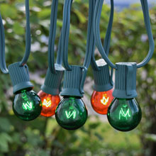 25' C9 Green/Amber Globe String Lights - Green Wire