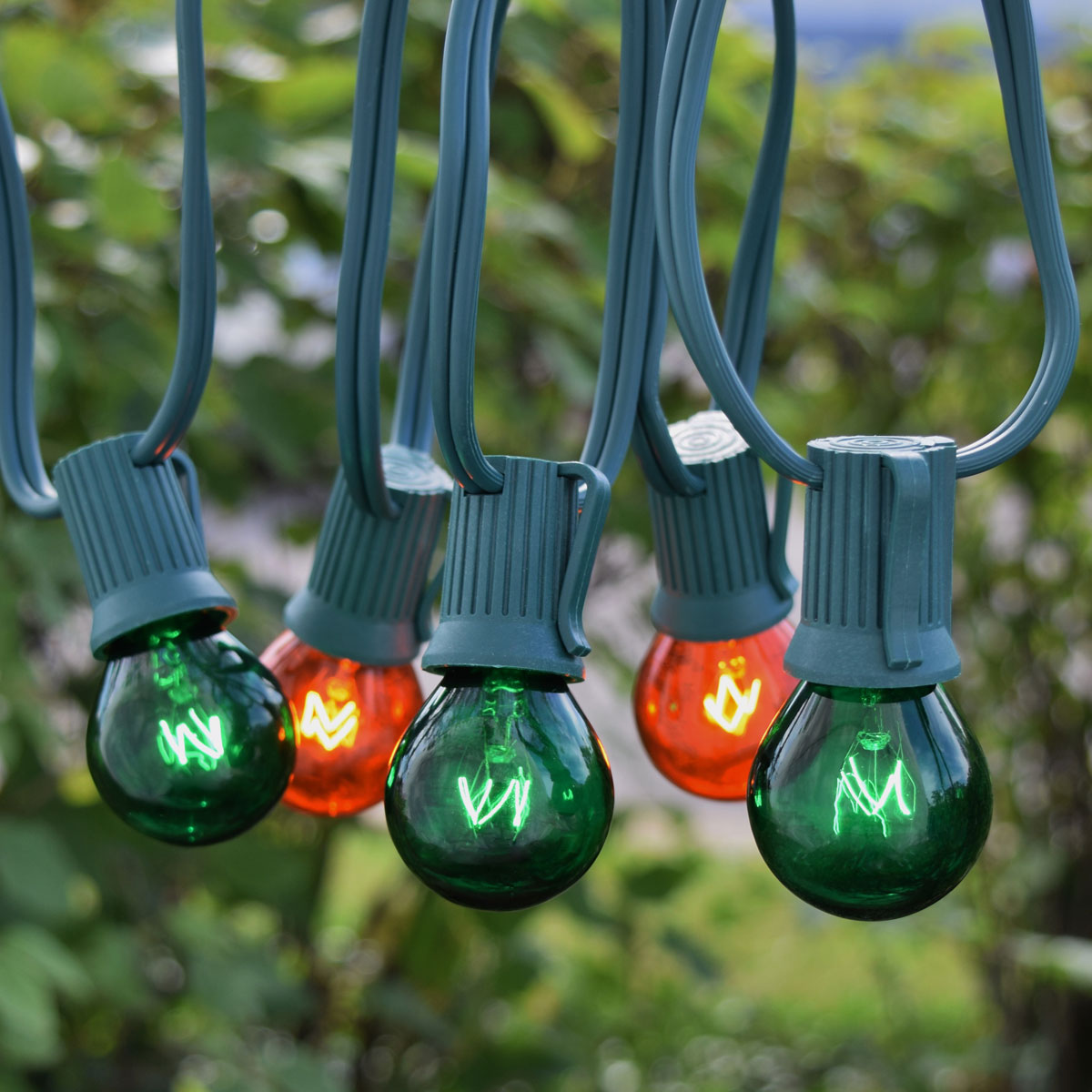 50' C9 Green/Amber Globe String Lights - Green Wire