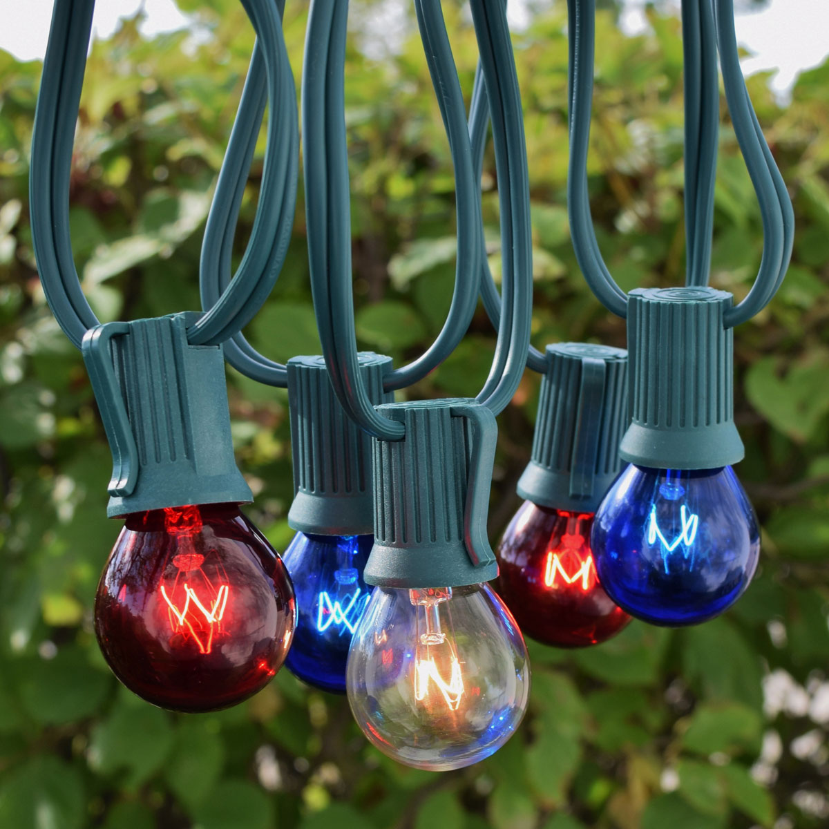 Patriotic String Lights Outdoor : 50 C9 Patriotic Globe String Lights - Green Wire