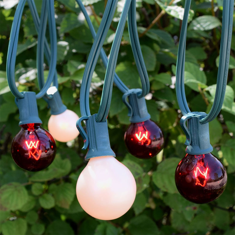 25' C7 Red White Christmas Globe String Lights