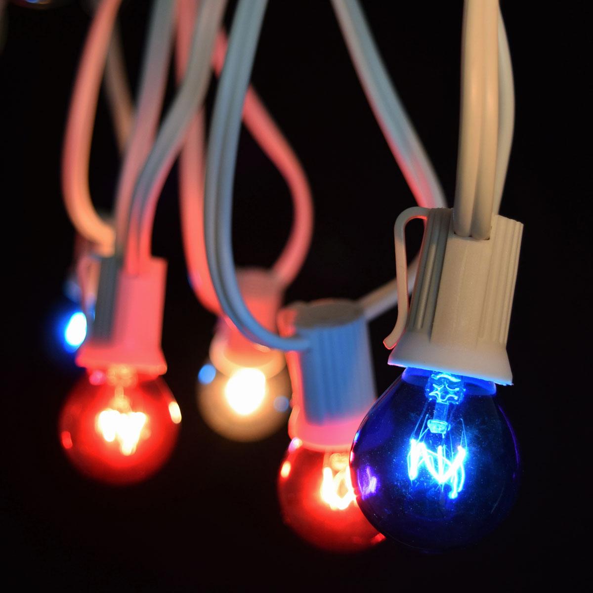 Patriotic Globe String Lights : 50 Commercial Red, White, Blue Globe Light Strand - White C9 Strand