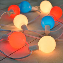 Patriotic Red White & Blue G50 Globe Lights - White Wire - 10 Lights GC2262330