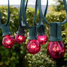 50' Pink Globe String Lights - Green C9 Strand