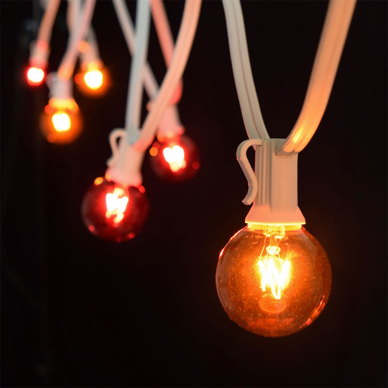 Red/Amber Globe Lights - 25' C7 White Light Strand