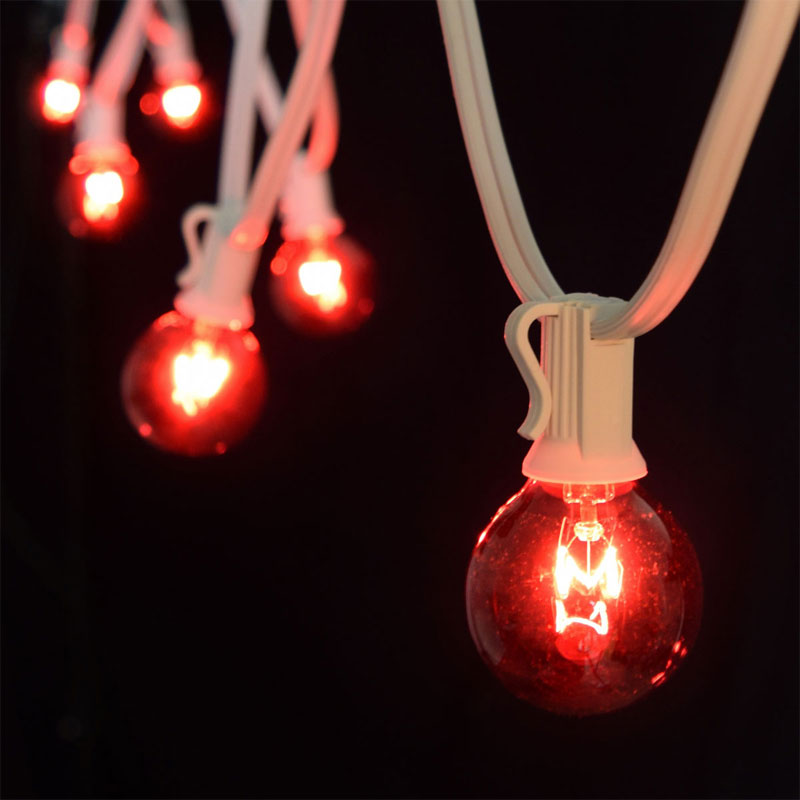 50' C7 White Light Strand Kit - Red Globe Lights