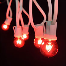 25' C9 White Light Strand Kit, Red S11 Globe Bulbs