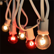 25' Red/White Christmas Globe String Lights - White C9 Strand