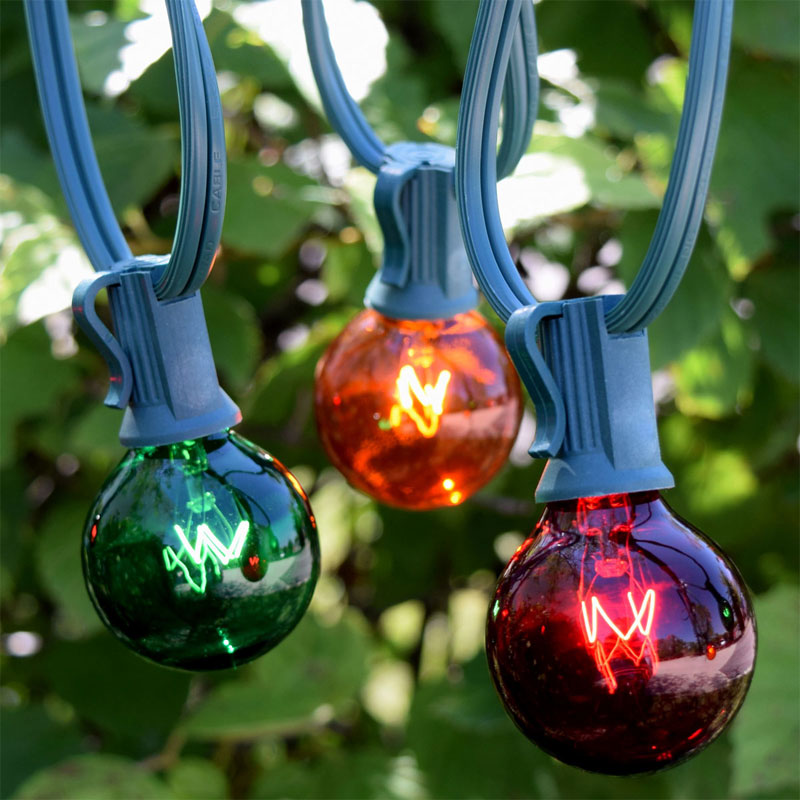 50' C7 Red, Green, Amber Globe String Lights