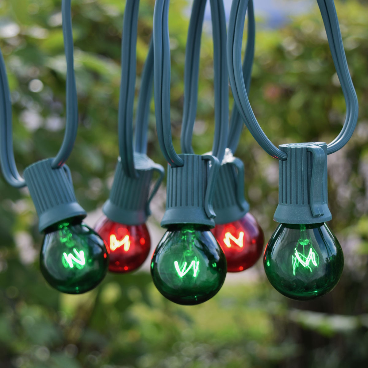 50' Red/Green Globe String Lights - Green C9 Strand