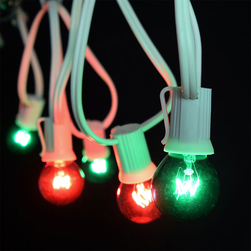 Pearl String Lights Red White Green : 25 Commercial Red/Green Globe String Lights - White C9 Strand