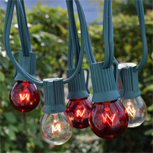50' Red/Clear Globe String Lights - Green C9 Strand