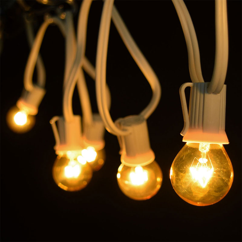Yellow Globe String Lights : 25 Commercial Yellow Globe Light Strand - White C9 Strand
