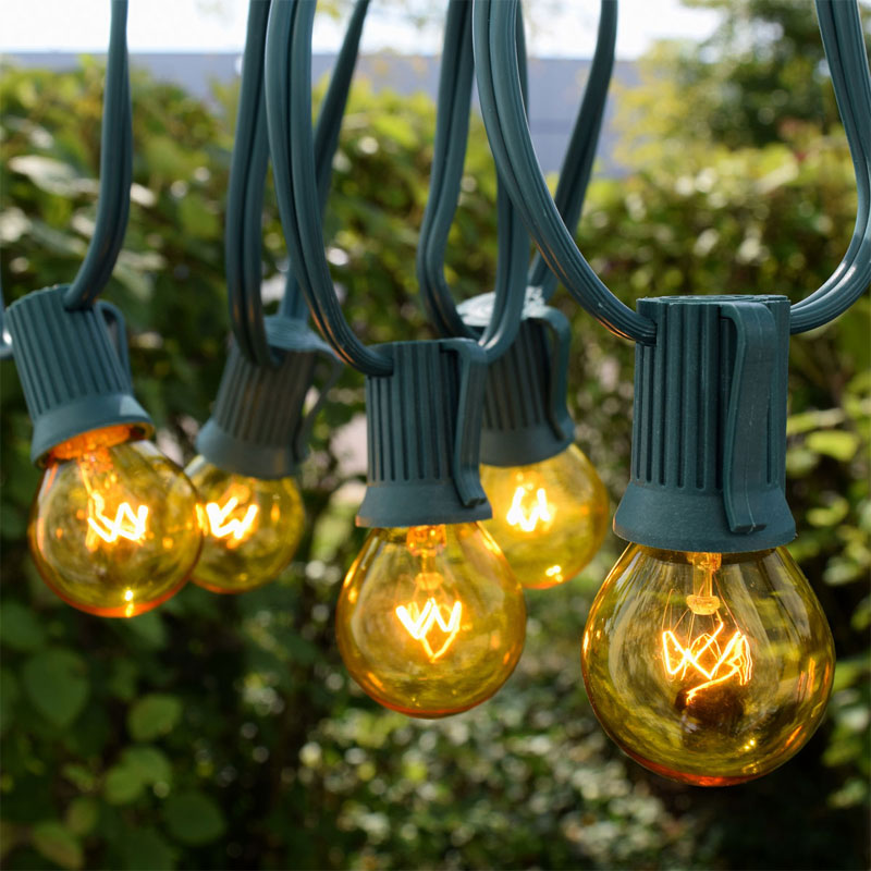 Yellow Globe String Lights : 50 Commercial Yellow Globe Light Strand - Green Wire