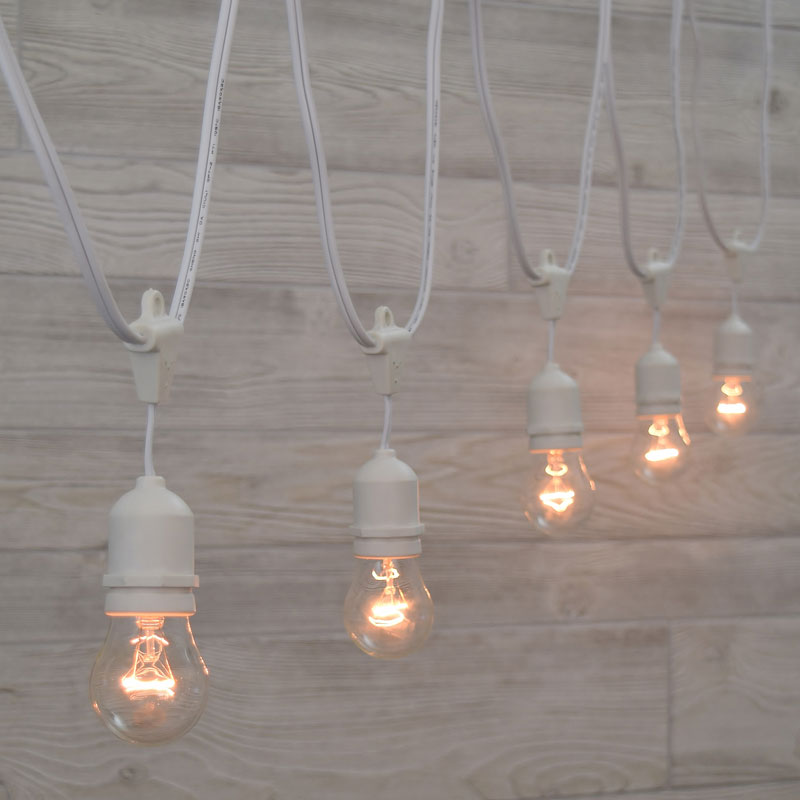 White commercial festival light strand kit clear light bulbs white suspended commercial clear light strand kit aloadofball Choice Image