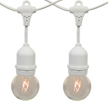 21' Clear Globe Commercial String Light Kit - White Suspended