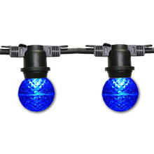 48' Blue G50 LED Globe Lights - Black Non-Suspended Strand
