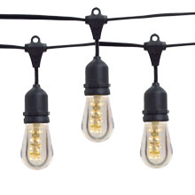 21' LED Commercial String Light Kit - Smooth LED Warm White Light Bulbs