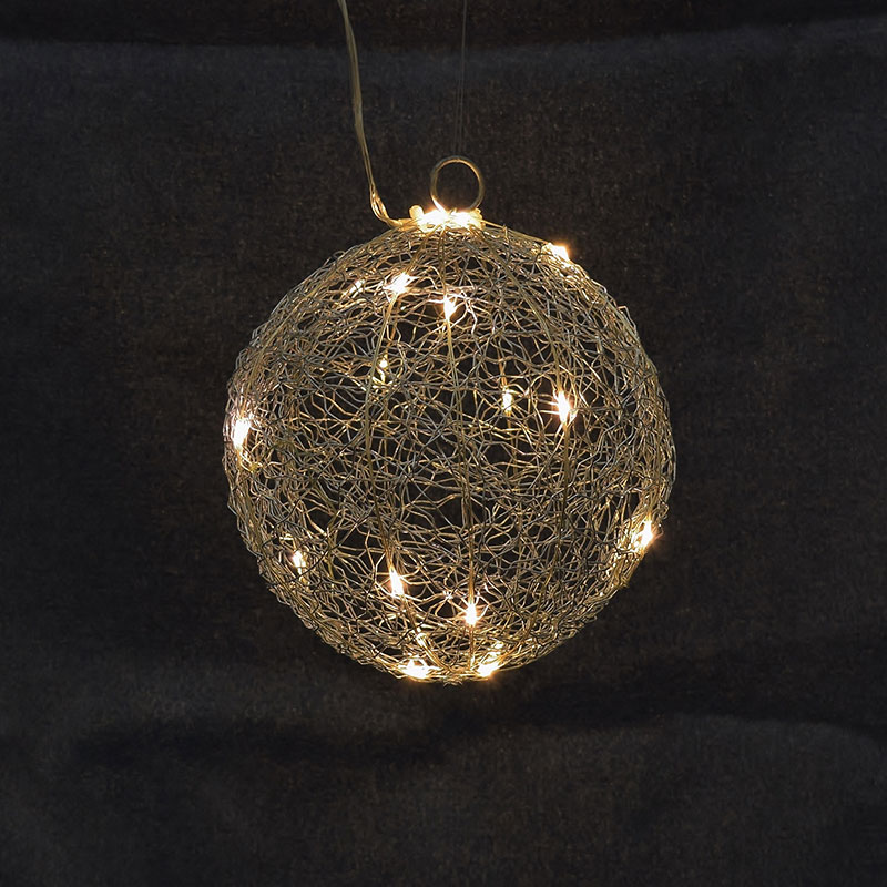 Silver Wire Ball LED Light - 20 Warm White LED - 6\