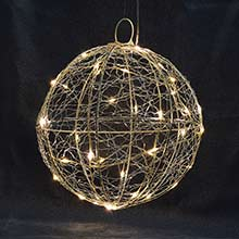 "LED Silver Wire Ball Light - 20 LED Warm White - 8"" Diameter VIC-S208"