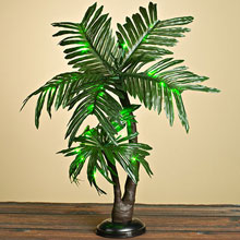 "24"" Green Twin Palm Tree - Battery Operated GC15014"