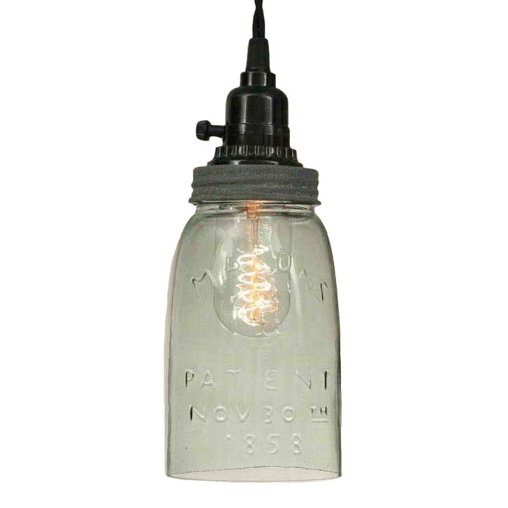 Quart Open Bottom Mason Jar Pendant Lamp - Barn Roof