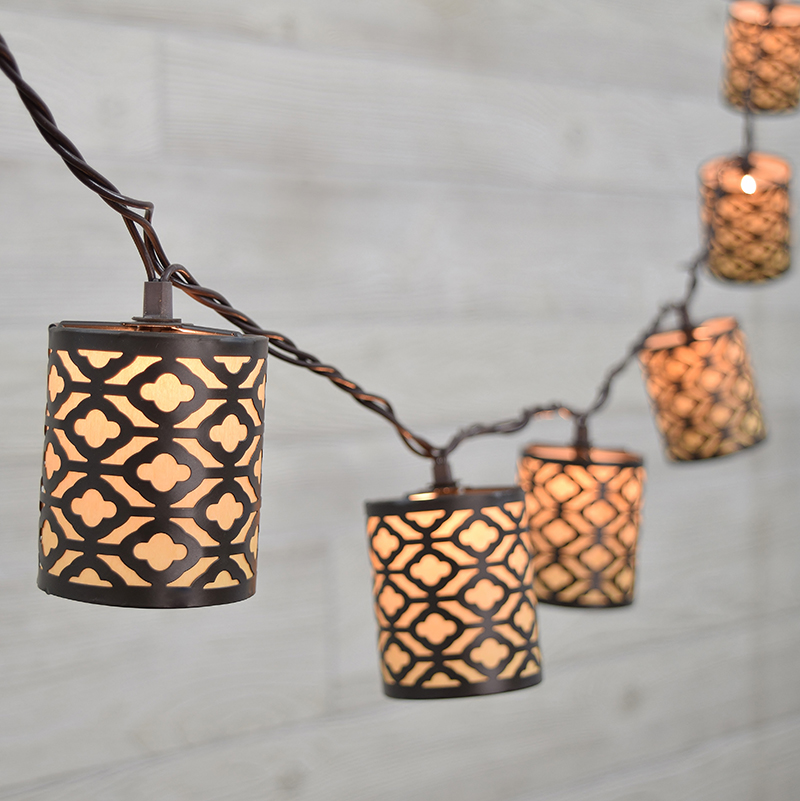 Metal Gray Cylinder Decorative String Lights 10 Lights GC2262190