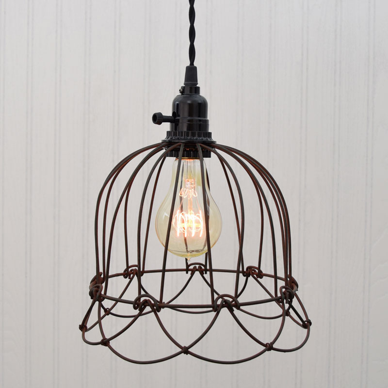 Small Wire Bell Pendant Lamp - Green/Rust