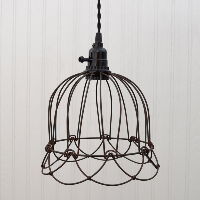 Green rust small wire bell cage pendant light greenrust small wire bell pendant lamp aloadofball Choice Image