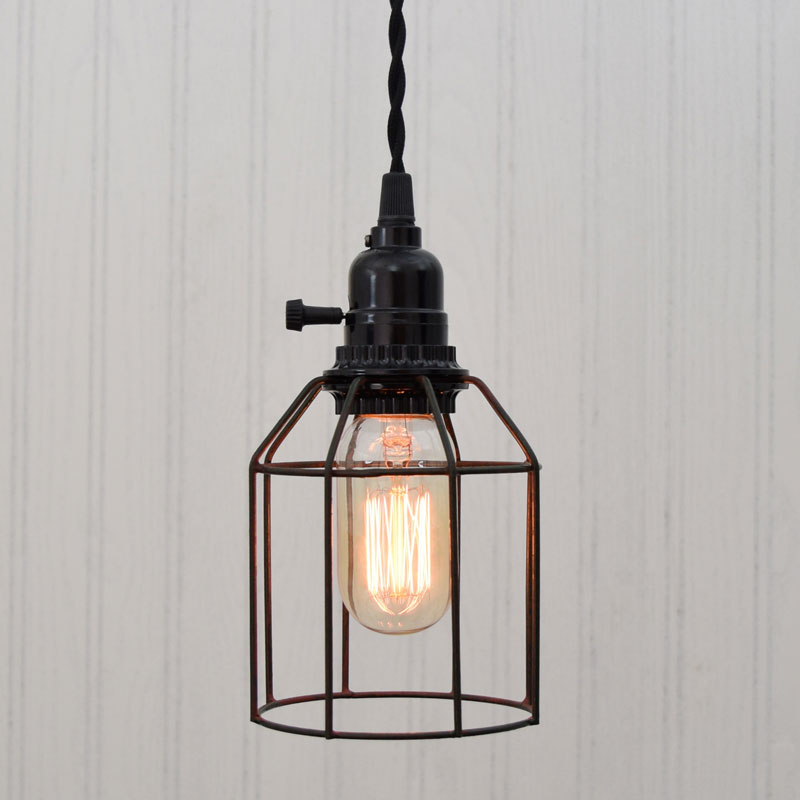 Wire Cage Pendant Light - Green/Rust