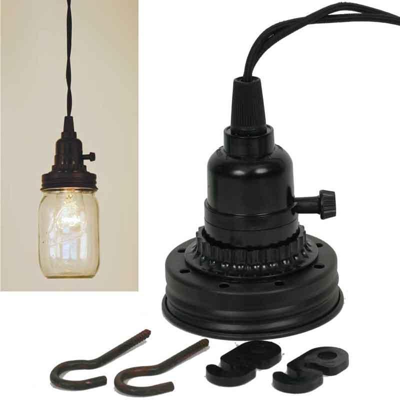 Rustic Mason Jar Pendant Lamp Kit
