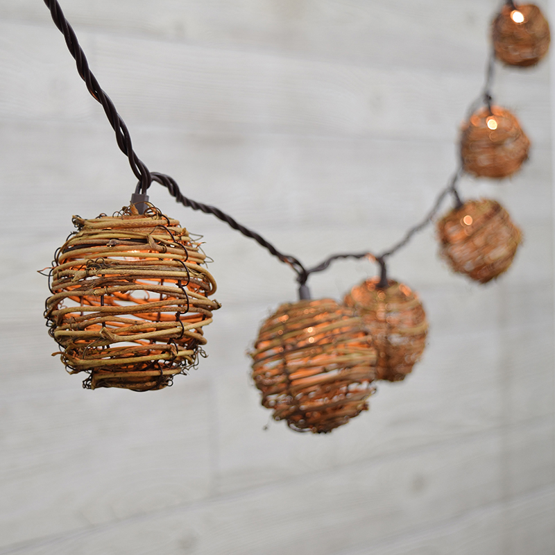 Natural Rattan Sphere Light Set - 10 Lights GC2201200