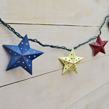 Rustic Country Patriotic Star String Lights