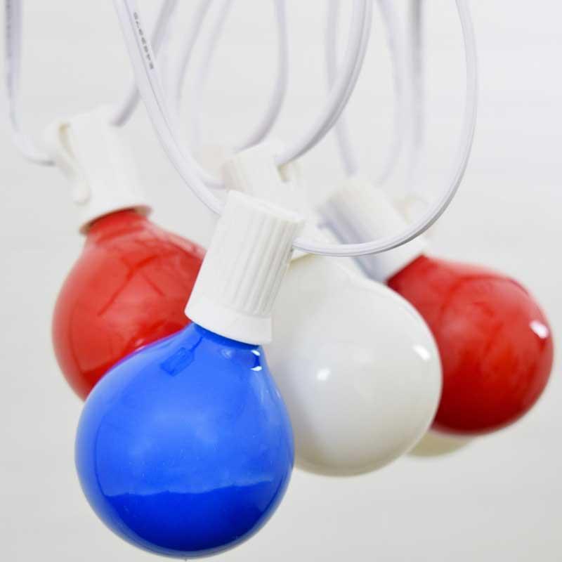 Patriotic Globe String Lights : Patriotic Red, White & blue G50 Globe Lights - 10 Feet