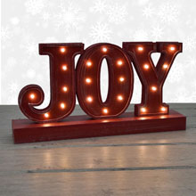 Battery Operated LED Joy Lighted Rustic Sign