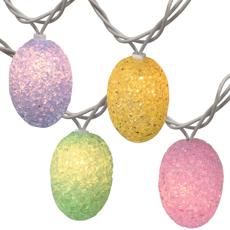 Outdoor Easter String Lights : Pastel Colored Easter Egg String Lights - 10 Lights