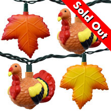 Thanksgiving Turkey & Autumn Leaves Party String Lights - Heritage Hen