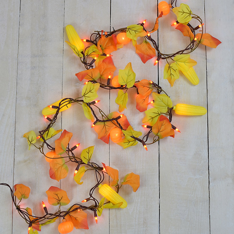 Garland Style String Lights : Maple Leaf, Corn, Pumpkin Party String Lights - Garland Style