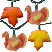 Thanksgiving Turkey & Autumn Leaves Party String Lights - Rustic Roy
