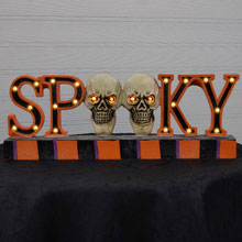 "10"" Battery Operated Spooky Halloween Wood Sign"