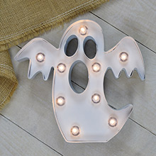 "Metal Lighted Halloween Ghost Marquee - 9.12"" x 10"" - Battery Operated DR-3115124"