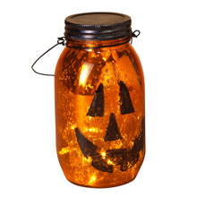 Glass Halloween Pumpkin Face Luminary - Battery Operated - 7""