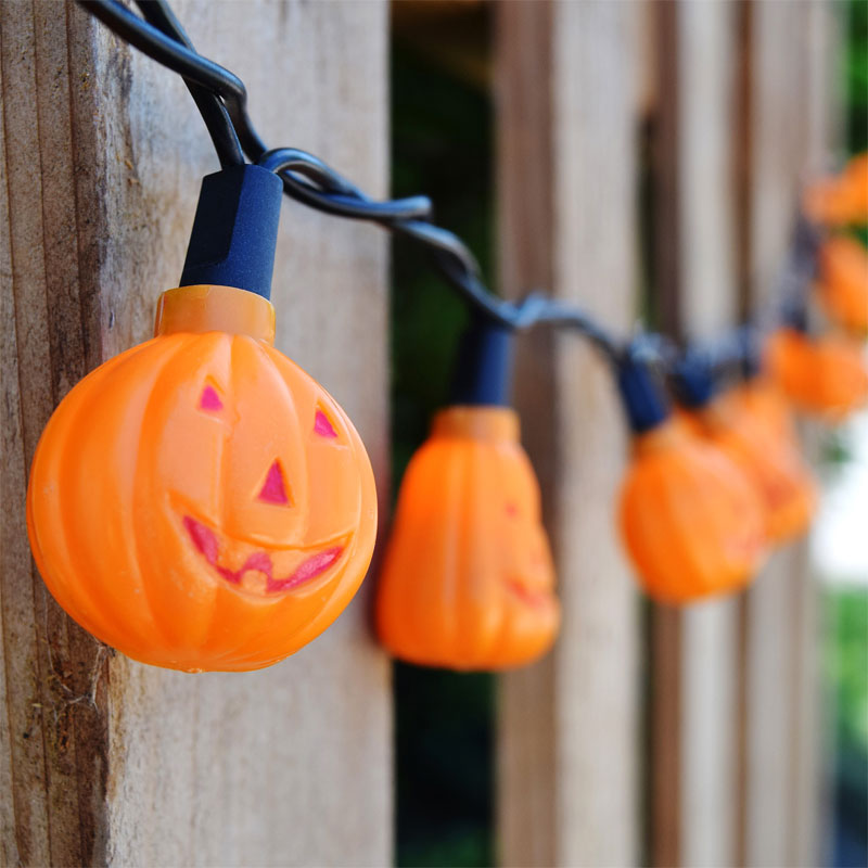 halloween novelty light strand 20 mini pumpkins - Halloween Light Bulbs