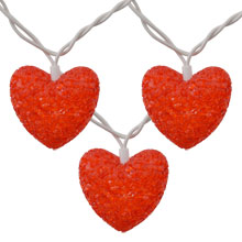 Red Valentine Heart Party String Lights