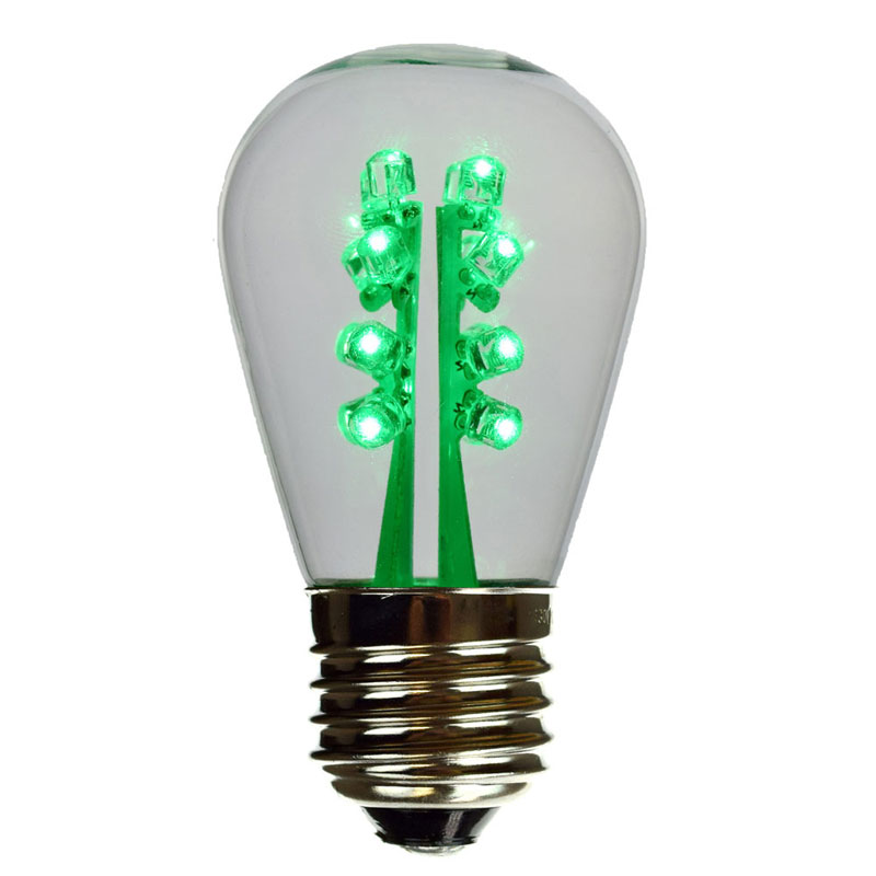LED S14 Light Bulb - Medium Base - Green LED/ClearGlass