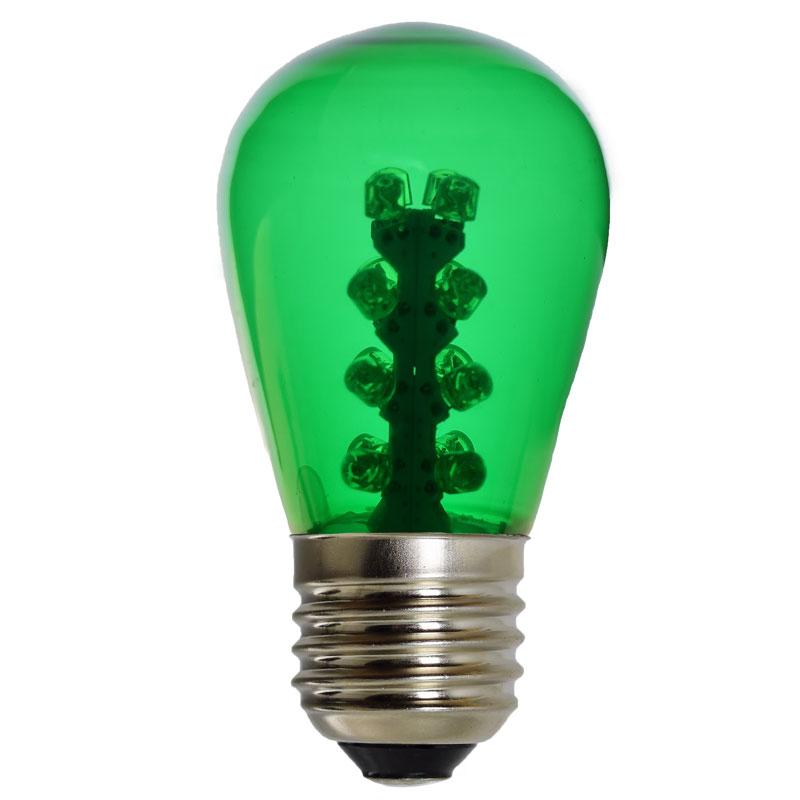 Led S14 Light Bulb Medium Base Green Glass